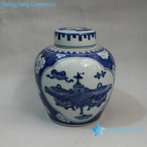 RYXN08 6.6 inch Blue & White Eight Treasure Medallion Lidded Jar