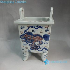 "RZXN13 7.8"" Jingdezhen Ceramic Blue & White Foo Dog Burner Wholesale"