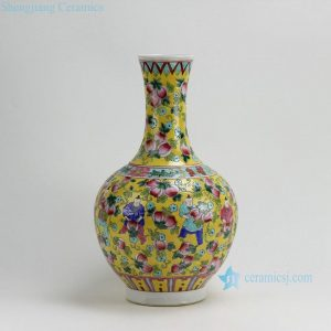 "RYZG08 H16.5"" Jingdezhen hand painted yellow pink fruit and children design famille rose porcelain vases"
