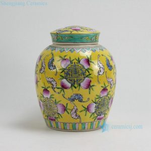 RYZG09 H9.8 INCH Jingdezhen hand painted yellow famille rose peach design porcelain pots