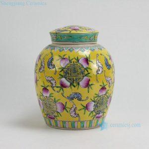 RYZG09 H9.8 INCH Jingdezhen hand painted yellow famille rose peach design porcelain pots