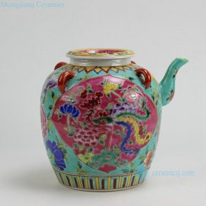"RYZG10 H8.4"" Jingdezhen hand painted pink and green famille rose porcelain oil pot"