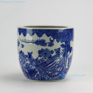 RZDA04 Hand Painted Blue White Phoenix Flower Pot