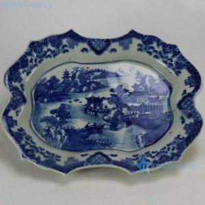 RZDA06 14.2 inch Scallop Blue and White Plate