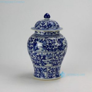 RZDA11 H13.7inch Hand painted blue and white temple jars