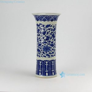 RZDA12 H15.7inch Hand Painted Blue and White Flower Vases