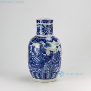 RZDA13 H16.7inch Hand Painted Flower Phoenix Blue White Vases
