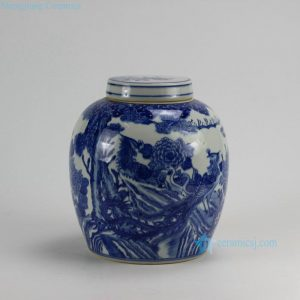 RZDA14 H10 inch Hand Painted Flower Phoenix Blue White Lidded Jars
