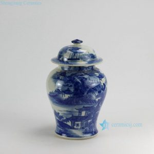 RZDA15 H14 inch Hand Painted Landscape Blue White Ginger Jar