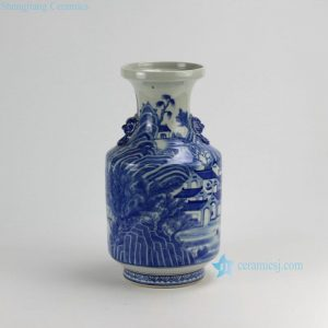RZDA16 H16 inch Hand Painted Blue White Vases with handle