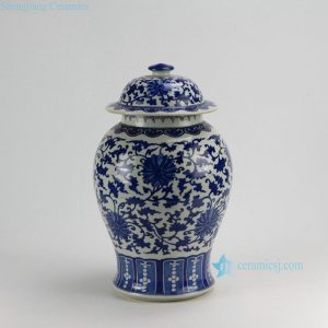 RZDA17 H17 inch Hand Painted Blue White Floral Ginger Jars