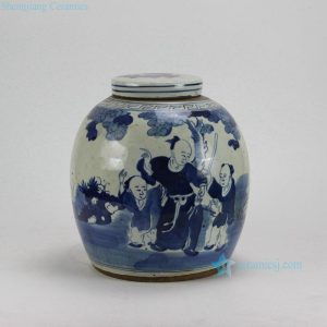 RZEY05-B Children design Blue and White Lidded Jars