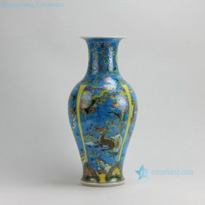 "RZFA02 H17.7"" Jingdezhen Famille rose porcelain vases; hand painted animal design"