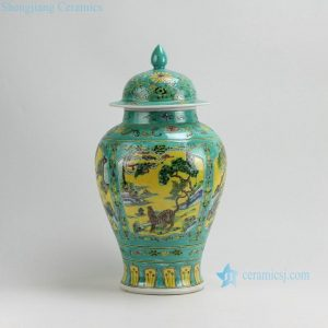 "RZAF07 H18"" Jingdezhen hand painted Famille rose animal design porcelain ginger jar"
