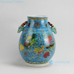 RZFA08 H13 Inch Jingdezhen hand painted Famille rose kylin design porcelain deer handle vase