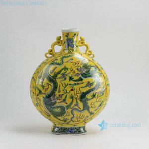 RZFA10 H16 Inch Jingdezhen hand painted Famille rose dragon flat moon shape porcelain vase