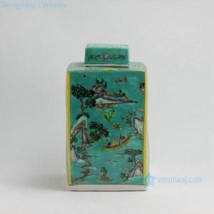 RZFA11 H13 Inch Jingdezhen hand painted Famille rose landscape design square porcelain jars