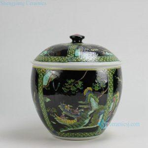 RZFA13 H11 inch Jingdezhen hand painted black famille rose porcelain pots