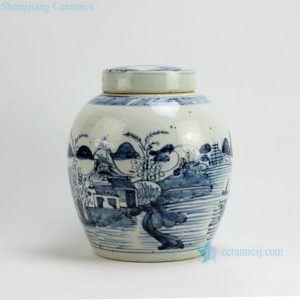 "RZFB04 H10.5"" Jingdezhen blue and white jars"