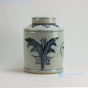 "RZFB05 H11"" Jingdezhen blue and white tea tin jars"