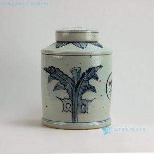 "RZFB05 H11"" Jingdezhen blue and white tea tin jars"