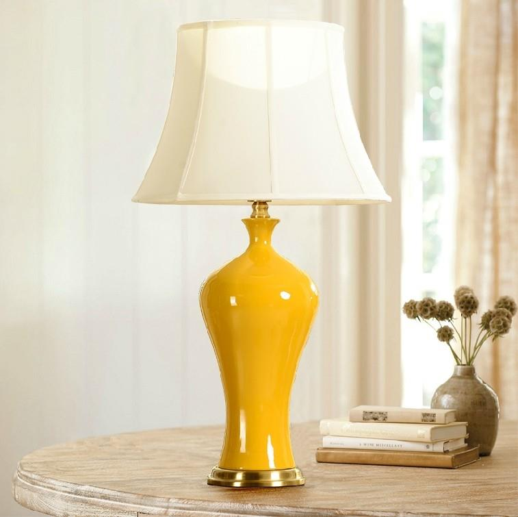 Vase Design Yellow Ceramic Table Lamp ...