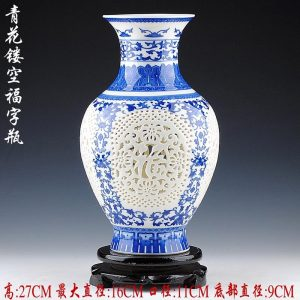 Hollowed-out Ivory Blue White Ceramic Vases