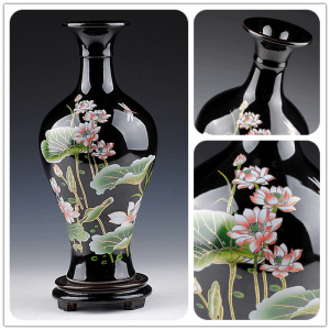 Bright Black Ceramic Flower Vases