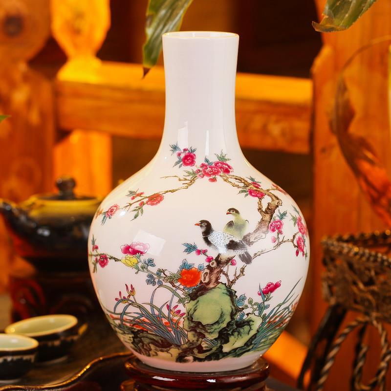 Colorful Chinese Flower Bird Ceramic Vases Jingdezhen Shengjiang