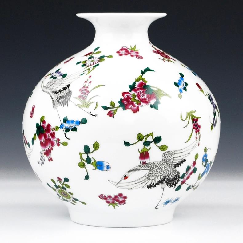 Flower And Crane Design Ceramic Vases Jingdezhen