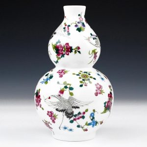 Flower and Crane design Ceramic Vases