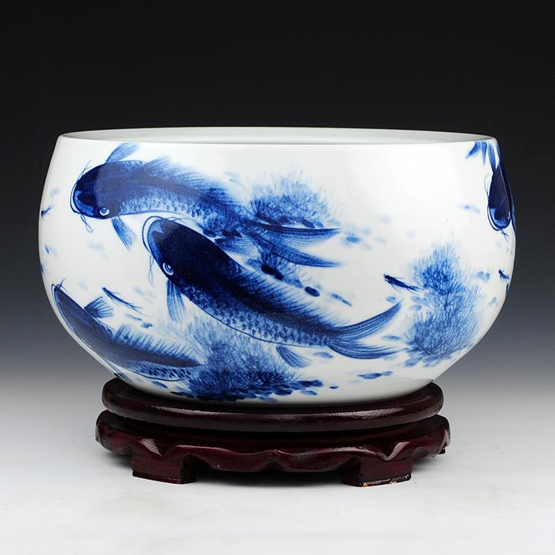 high quality hand painted ceramic fish bowls jingdezhen