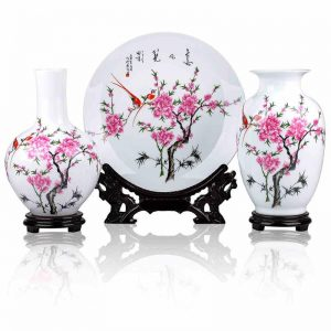 Set of 3 Ceramic Vases and Plates