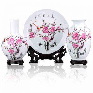 Set of 3 Ceramic Vases and Plates