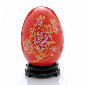 Chinese Red Ceramic Decorative Vases and Eggs