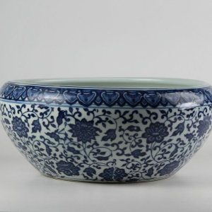 C73-5 d12.6inch Blue and White Ceramic Fish bowl