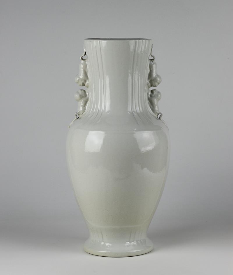 C82 4 White Ceramic Handled Vases Jingdezhen Shengjiang