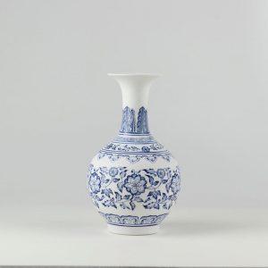 C86 White and Blue Unglazed Ceramic Vases