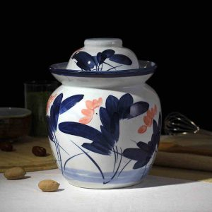 C87-1 Set of 6 Nice Flower design Ceramic Pickle Jars