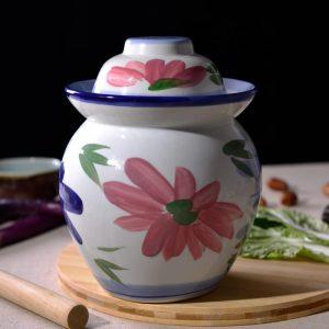 C87-2 Set of 6 Nice Flower design Ceramic Pickle Jars