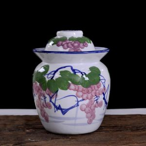 C87-5 Set of 6 Grape Design Ceramic Pickle Jars