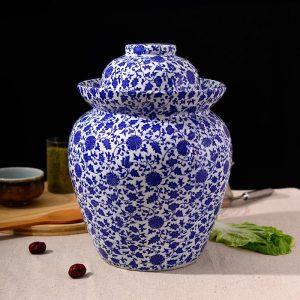 C87-7 Set of 6 Blue White Floral design Ceramic Pickle Jars