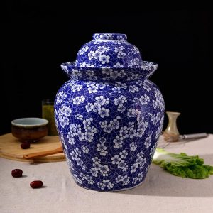 C87-8 Set of 6 Blue White Floral design Ceramic Pickle Jars