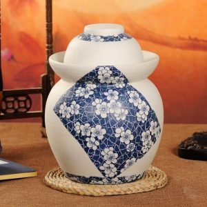 C88-03 Matte Floral design Blue and White Ceramic Pickle Jars