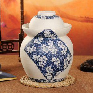 C88-03 Matte Floral design Blue and White Ceramic Pickle Jars