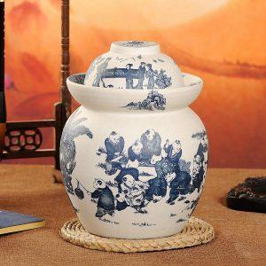 C88-04 Matte Children design Ceramic Blue and White Pickle Jars