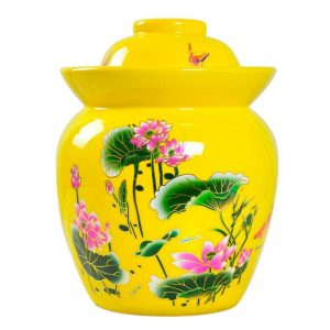 C89-01 Yellow Lotus design Ceramic Pickle Jars