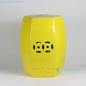 RYIR109-A RYIR109-B/C 17inch Yellow 6 sided Ceramic Garden Stool