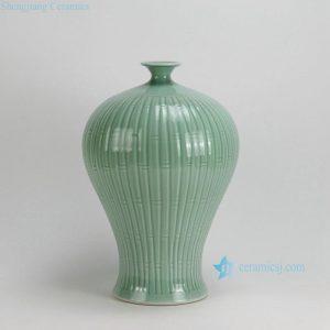 "RYKB99-A 16"" Bamboo design Celadon green Meipin Vase"