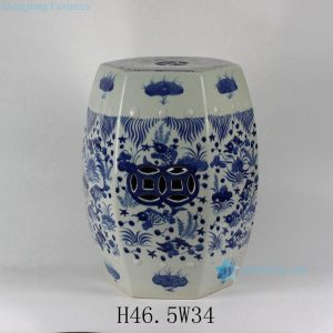 "RYLU17-B 18"" Blue & White Fish Grass design Hexagon Ceramic Garden Stool"